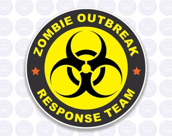 Zombie Outbreak Response Team Decal - Zombie Decal - Zombie Laptop Decal - Zombie Biohazard Bumper Sticker Zombie Apocalypse Decal Free Ship
