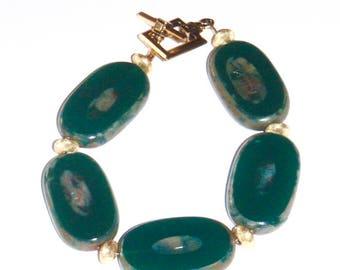 Green Czech Glass and Gold Art Deco Bracelet