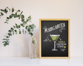 Display decorative Margarita, cocktail, cocktail recipe Illustration poster in black and white