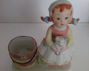 Ceramic Girl Figurine Votive Holder Pig Bucket Painted Ceramic Decorative collectible Figurine 1980 W A