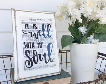 It is Well with my Soul sign, hand lettered hymn board, rustic wood sign, hymn sign, hand lettered wood sign, Christian gift, Imperfect Dust