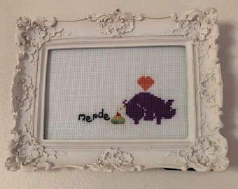 Purple Pig de Merde Cross Stitch