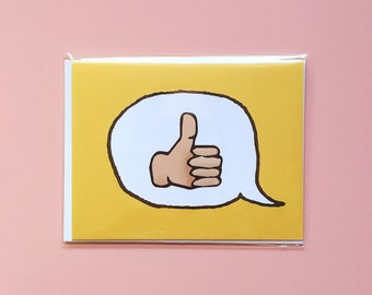 Emoji Cards! - Thumbs Up Emoji - Yellow Background