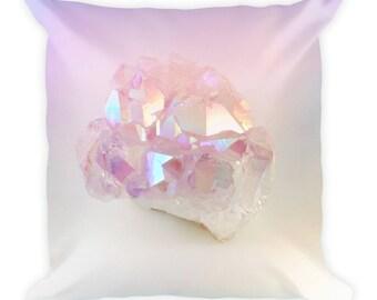 Pastel Pink Angel Aura Quartz Modern Metallic Pillow, Trendy Pillow, Pastel Decor, Crystal Pillow, Crystal Lovers, Yoga Gift, Dorm Decor