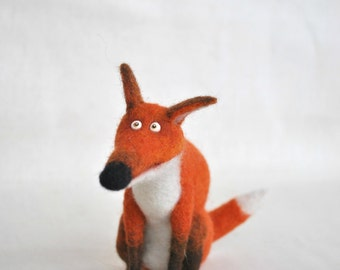 Needle felted funny fox wool toy animal miniature soft sculpture
