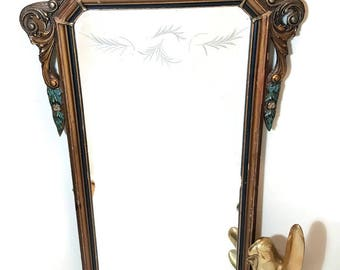 ANTIQUE MIRROR ETCHED Ornate Vintage Mirror French Paris Apartment Victorian Mirror Neoclassical Wall Mirror