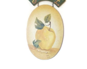 Sunshine Apple Plaque | Large Golden Apple on Oval Sign