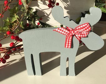 Painted wooden moose Christmas decoration