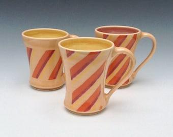 Tangerine and Yellow Mug, Porcelain Mug, Ceramic Mug, Coffee Mug, Orange Mug, Striped Ceramic Coffee Cup, Tea Mug, Wheel Thrown Pottery Mug