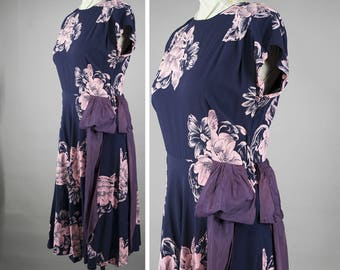 Swing Era Vintage 40s Dress Rayon Floral Print Navy Blue and Pink Full Skirt Swing Dance Dancing Dress S M VLV