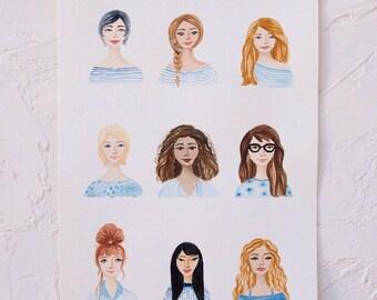 A4 Original 'Painted Ladies' One-of-a-Kind Artwork