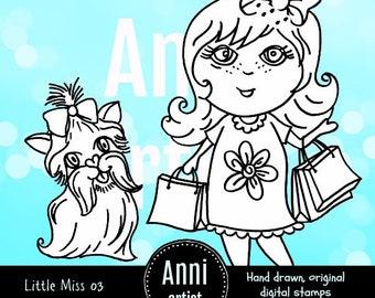Little Miss 03 Digital Stamp Instant Download - Suitable for Paper Crafts, Scrapbooking, Art Journals