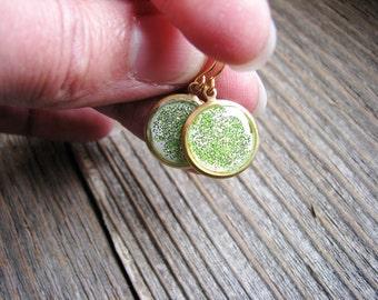 Green Glitter Earrings, Sparkly Earrings, Drop Earrings, Dangle Earrings, Simple Minimalist Earrings, Boho Earrings