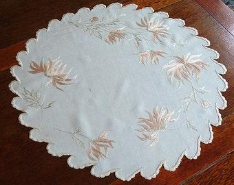 """Silk Embroidered Doily/Centerpiece Victorian Society Silk, """"Mums"""" Centerpiece 20.5"""" diameter"""