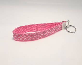 Keychain / Wristlet / Key Fob / Hot Pink Webbing, Hot Pink Ribbon with White Quatrefoil