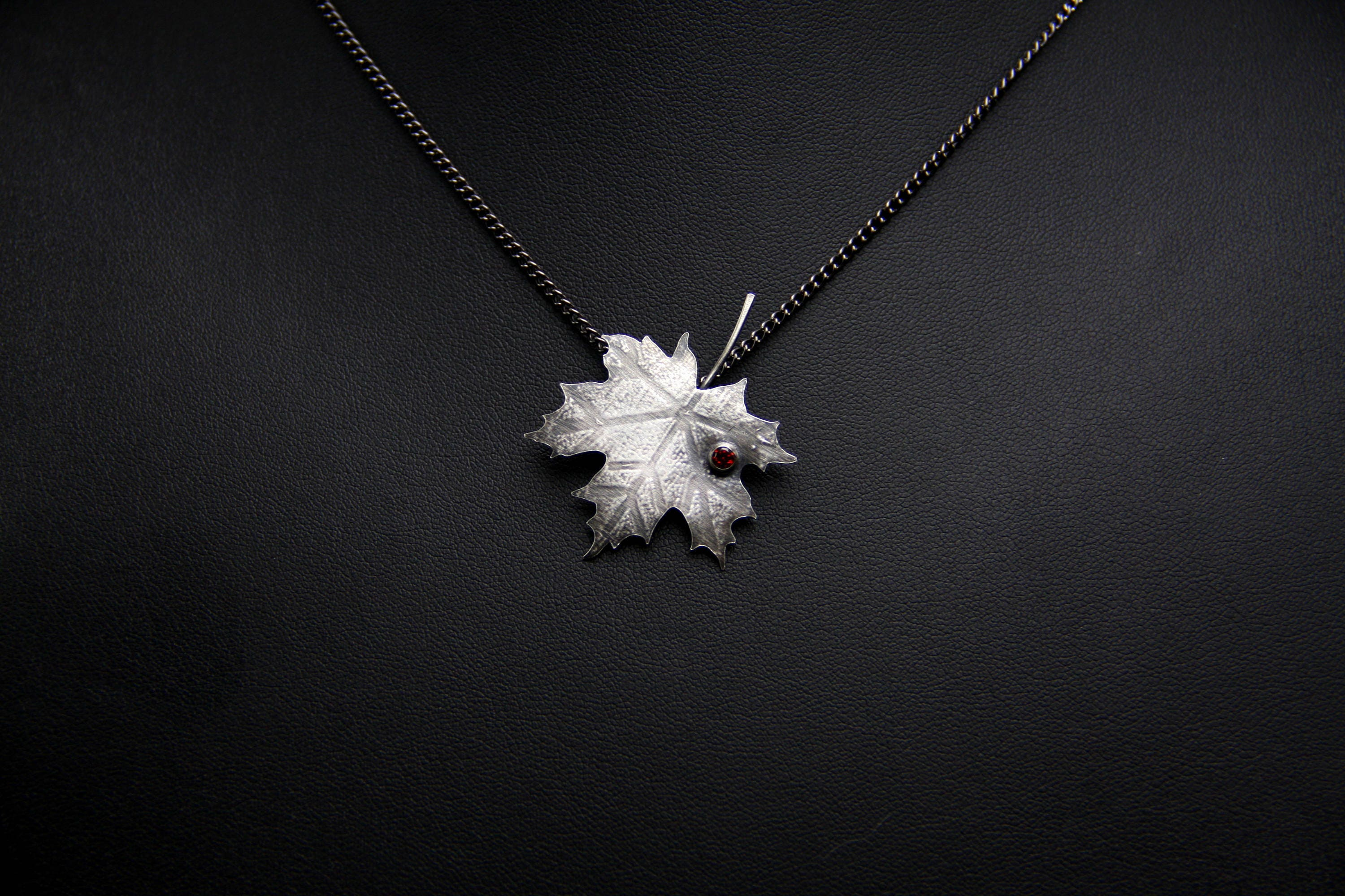 small jewelry silver nature electroformed necklace products real pendant maple leaf medium custom