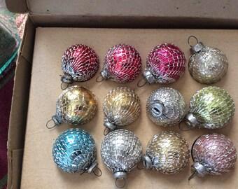 Shiny Brite Mesh Covered Miniature Ornaments and Box