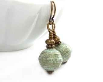 Mint Green Earrings - Vintage Style Acrylic Beads - Gold Floral Details - Petite Short Earrings - Yoga Earrings