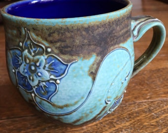 Green and Blue Slip Trailed Cherry Blossom Mug