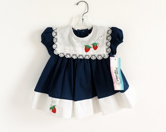 """Vintage Toddler Size 12-18M Dress, Jayne Copeland Cotton Navy Blue and White One Piece Dress NWT Strawberry Applique, b22""""  L15"""""""