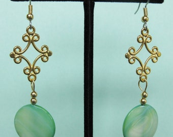 Green Mother of Pearl Swirl Drop Earrings