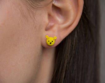 Winnie the Pooh Stud Earrings - Handmade Polymer Clay