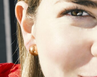 Clip On Earrings-Button Earrings-Rose Gold Clips Ons-Plain Round Earrings-Rose Gold Earrings-Simple Earrings-Clip-Ons-Handmade Earrings