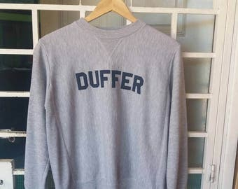 Vintage 90s Duffer sportwear spellout embroidery/size 12/grey/made in england