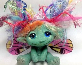 """OOAK Rainbow Butterfly Fairy Trollfling Troll art doll """"Kelly Marie"""" by Amber Matthies"""