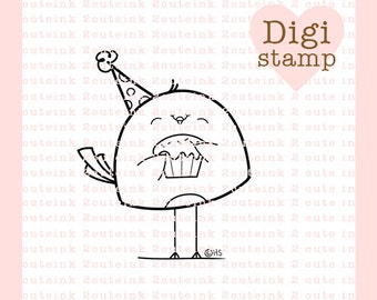 Cupcake Birdie Digital Stamp for Card Making, Paper Crafts, Scrapbooking, Hand Embroidery, Invitations, Stickers, Coloring Pages