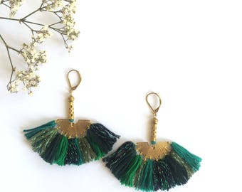 """Pair of earrings """"Manet"""" with cotton and lurex, shades of green"""