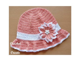 Cotton Floppy Sun Hat Crochet Pattern (DOWNLOAD) CNC42