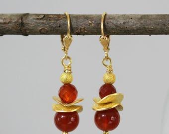 Burnt Orange Carnelian and Gold Disc Drop Earrings, Orange Earrings, Fancy Earrings, Formal Dressy Earrings, Mother's Day, Short Earrings