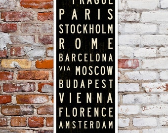 SMALL Europe Travel Poster, Subway Sign, European Decor, Subway Art, Typography Print, Travel Art, Wall Sign on Canvas or Wood. 12 x 36