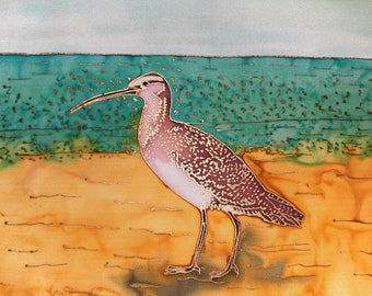 Hand Painted Silk Wall Hanging 12x12 - SURF'S UP!, Curved Bill Curlew, Endangered