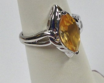 Marquise Cut Natural Citrine Ring 925 Sterling Silver. November Birthstone