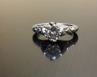 Platinum Diamond Engagement Ring - Art Deco Platinum Diamond Wedding Ring - Diamond Art Deco Hand Engraved Platinum Ring - Diamond Ring