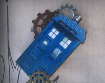 Dr Who Inspired Tardis Wooden Art Brooch