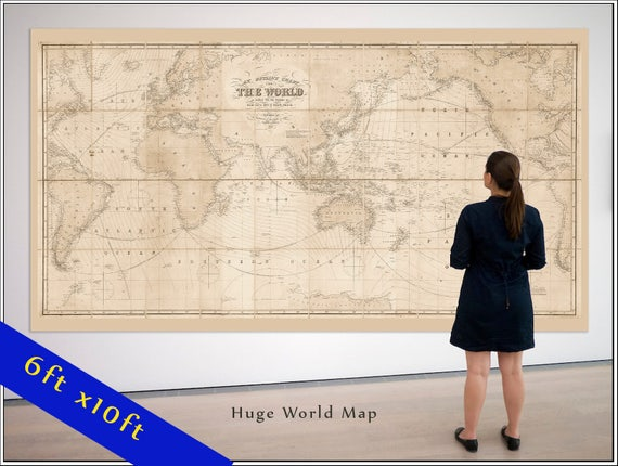 Large vintage world map world map in antique colors world large vintage world map world map in antique colors world map grand canvas wall tapestry up to 6xft x 10ft map gumiabroncs Image collections