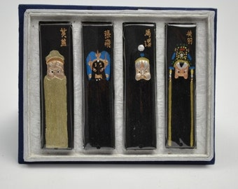 Free Shipping Chinese Calligraphy Material  Hu Kaiwen Tung Oil Soot Ink Stick Ink Block Set / BJ Opera Mask - 125g- 0005T