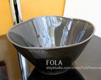 "10in 10"" Small Gloss Grey Ceramic Porcelain Bathroom Vessel Sink Free Form"