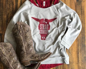 Strait Country 3/4 Sleeve Raglan Sweatshirt, Women's Country Lifestyle Music Festival T-Shirt Southern Clothing, Country Sayings Shirt