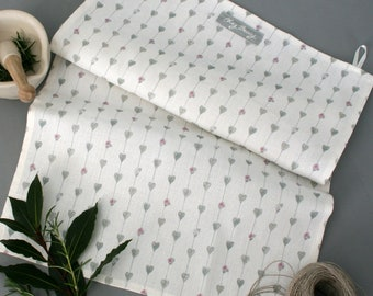 Sage Green Hearts & Roses Linen Union Tea Towel