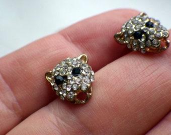 Rhinestone Vintage Panther Earrings - Stud Style
