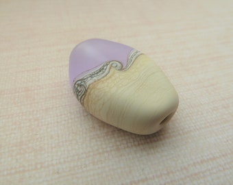 lampwork glass lilac and ivory beach focal bead, uk handmade tumbled