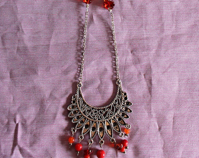 Fantasy spirit Indian Silver, red glass beads, chain and dangle pierced silver, gift for her