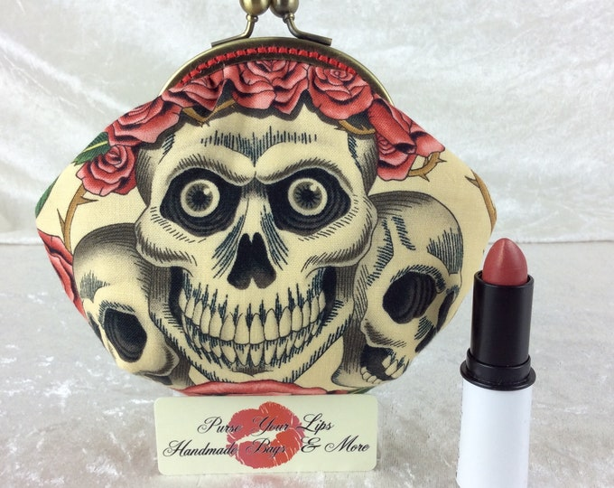 Handmade coin purse frame kiss clasp fabric change wallet pouch Alexander Henry Rose Tattoo Gothic Skulls