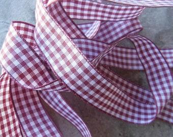 Mauve Checkered Ribbon 3 yds