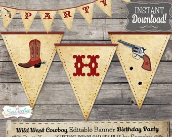 Wild West Cowboy Party Banner - INSTANT DOWNLOAD - Editable & Printable Birthday Decorations, Bunting, Decor by Sassaby Parties