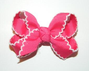 Shocking Pink & White Medium Moonstitch Hair Bow